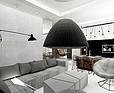 ARTDESIGN - Wnętrza apartamentu – pokój dzienny z kuchnią